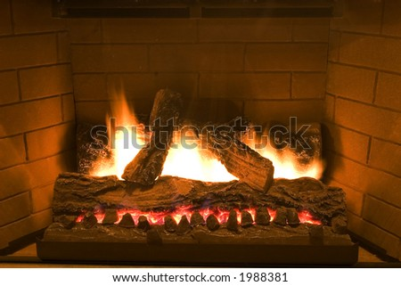 A brick fireplace
