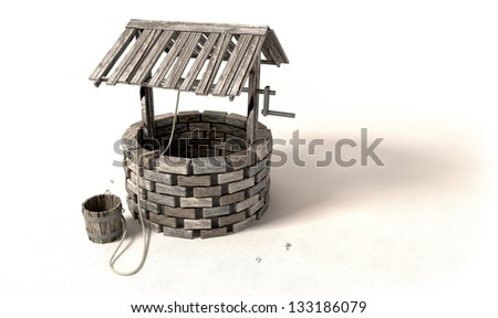 A brick water well with a wooden roof and bucket attached to a rope next to it on an isolated background - stock photo