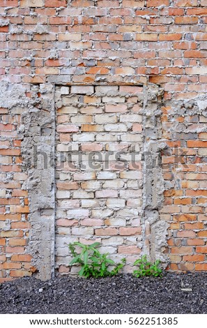 A bricked up hidden doorway on a rough brick wall. & Old Brick Wall Old Door Flowers Stock Photo 81433828 - Shutterstock Pezcame.Com