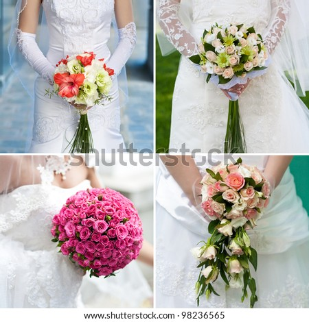A bridal bouquet held by the bride - stock photo