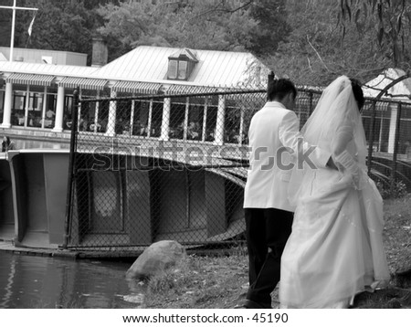 A bride and groom - stock photo