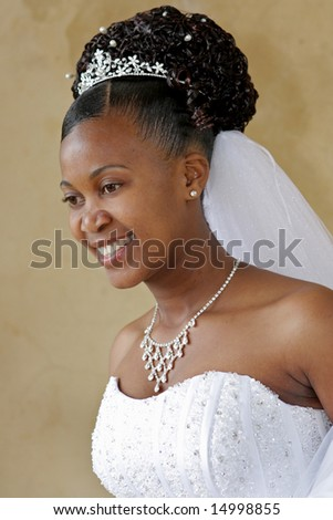 A bride on her wedding day - stock photo