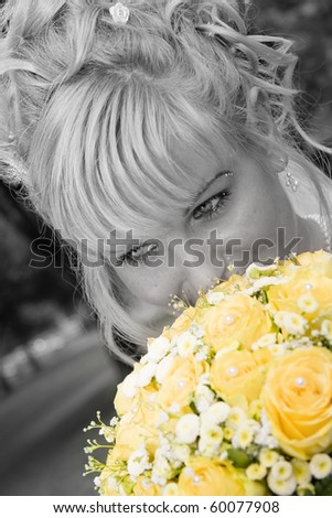 a bride's weddings with a bouquet - stock photo
