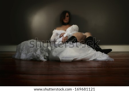 a bride who appears to be drugged or drunk - stock photo