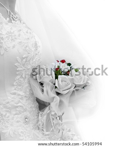 A bride with a wedding bouquet - stock photo