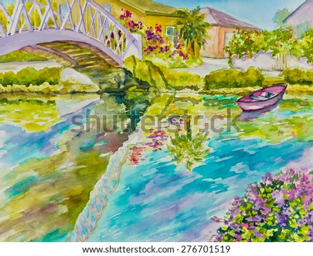 A bridge and flowers are reflected in a canal morning scene in a watercolor painting.