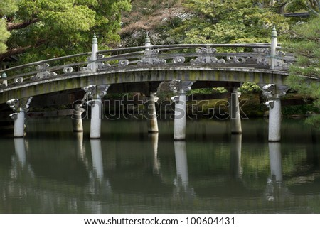 a bridge and pond of imperial palace in Kyoto Japan - stock photo