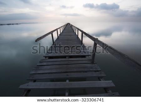 A bridge before sunrise in Malaysia  - stock photo