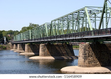 A bridge crossing over the Delaware River - stock photo