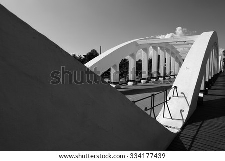 a bridge in lampang province in Thailand in Black and white