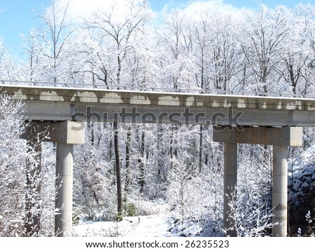 A bridge in winter after a snow storm