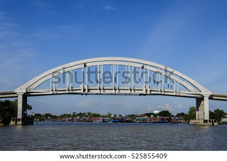 A bridge over a river with clear blue sky at the background