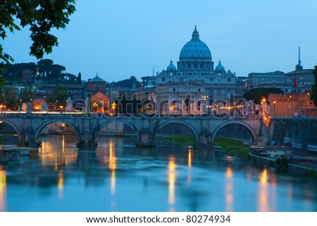 A bridge Vittorio Emmanuel on Tiber River and St.Peter's Basilica, Rome Italy