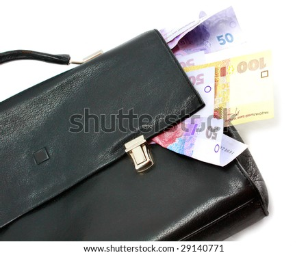 A brief-case with a bribe isolated on a white background