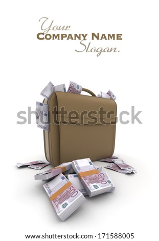 A briefcase full of cash in five hundred euro  bills - stock photo
