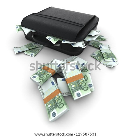A briefcase full of cash in hundred euro  bills - stock photo