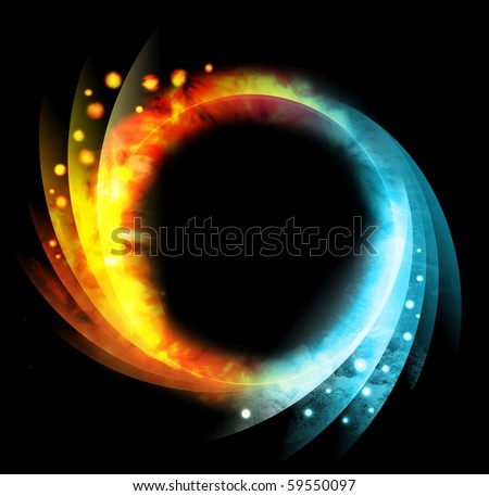 A bright blue and yellow orb circle representing the elements of fire and water. There is a black background. Swirl patterns are coming out of the sides with small circles.