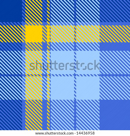 A bright blue and yellow tartan texture - seamless texture