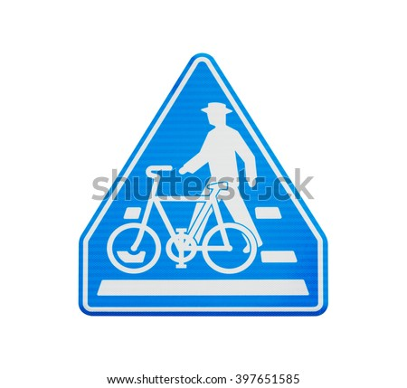 A bright blue bicycle and pedestrian warning sign isolated on white background. Object with clipping path.
