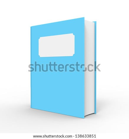 A bright blue book with a white blank title. The book is standing up and has a white background.