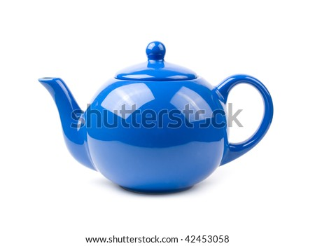 A bright blue ceramic standard design teapot isolated on white - stock photo