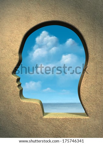 A bright blue sky seen through an head shaped window. Digital illustration. - stock photo