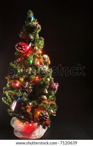 A bright, colorful and festive Christmas tree.