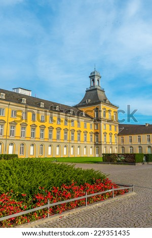 A bright colourful image of the main building of Bonn University - stock photo