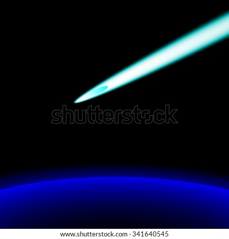 A bright comet flying above the ground; New Horizon; Earth; Space - stock photo