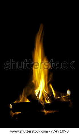 A bright flame with a reflection on a black background - stock photo