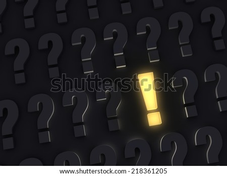 A bright, glowing yellow exclamation mark stands out in a dark field of gray question marks - stock photo