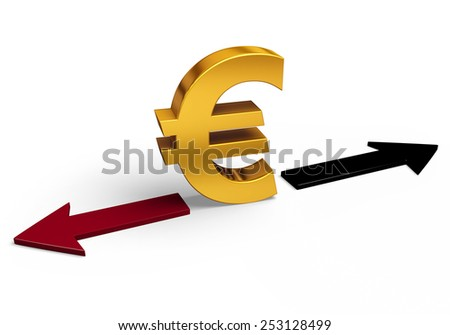 A bright, gold Euro sign stands between a red arrow pointing back towards losses and a black arrow pointing forward towards gains.  Isolated on white.  - stock photo