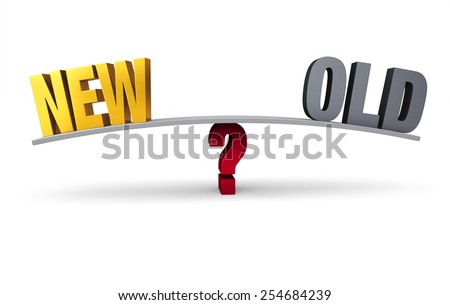 "A bright, gold ""NEW"" and dark, gray ""OLD"" sit on opposite ends of a gray board balanced on a red question mark. Isolated on white. - stock photo"