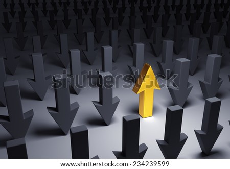 A bright, gold  Up Arrow stands out in a dark field of gray down arrows