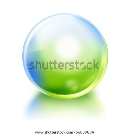 A bright green and blue nature or environmental icon orb circle on a white, isolated background with a reflection. Use it for a purity or future concept. - stock photo
