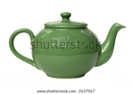 A bright green ceramic standard design teapot isolated on white - stock photo