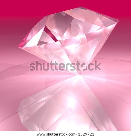 A bright pick diamond sparkling in the light - stock photo