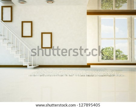 a bright room with the stairs and a big window - stock photo