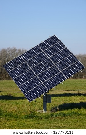 A Bright solar panel in the nature