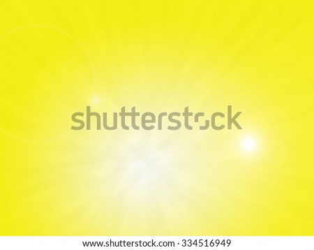 A bright yellow sunlight flare background with sun rays - stock photo