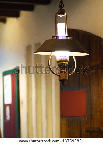 a brightly lit Lamp in restaurant - stock photo