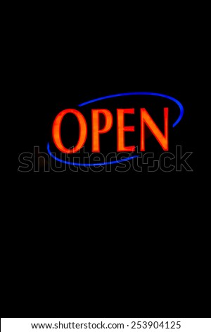 A brightly lt open neon signage - stock photo