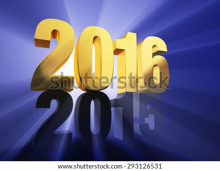 "A brilliantly backlit, gold ""2016"" sits atop a dark gray ""2015"" on a deep blue background with light rays shining through both years. 
