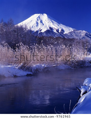 A brisk Japanese winter landscape - stock photo