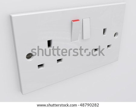 a british twin power socket isolated - stock photo