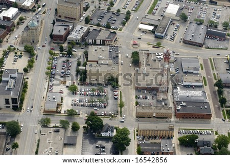 A broad view of a city's commercial district. - stock photo