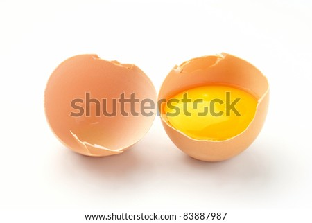 a broken egg on a white background isolated
