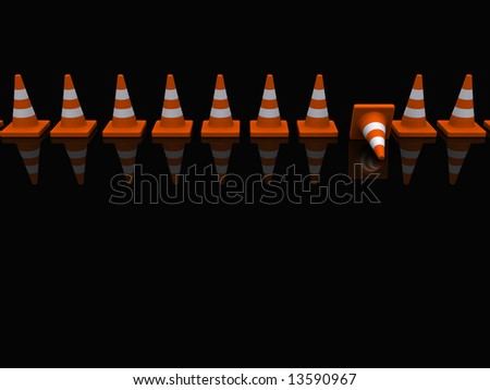 A broken fance of traffic coins on black - stock photo