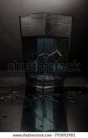 Broken Glass Inside Vase Fulfilled Blue Stock Photo Royalty Free