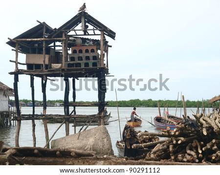 A broken pigeon house near Belawan beach - stock photo